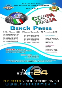 Diretta video Streaming CPA ITALIA BENCH PRESS 2014 SELLIA MARINA 30 NOVEMBRE 2014