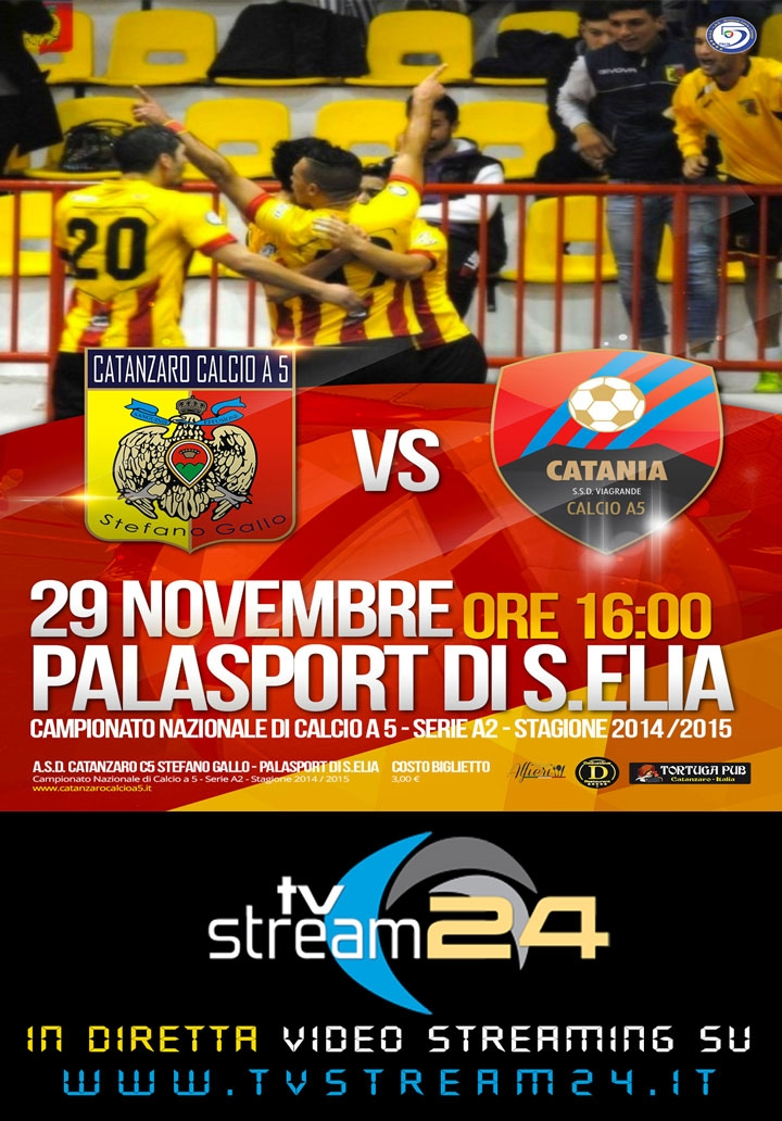 In diretta video streaming Catanzaro Calcio A5 - Catania Calcio a 5 Serie A2 2014/15 29 11 2014