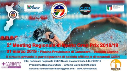2° Meeting Regionale di Nuoto Gran Prix 31 marzo 2019 Diretta Video Streaming